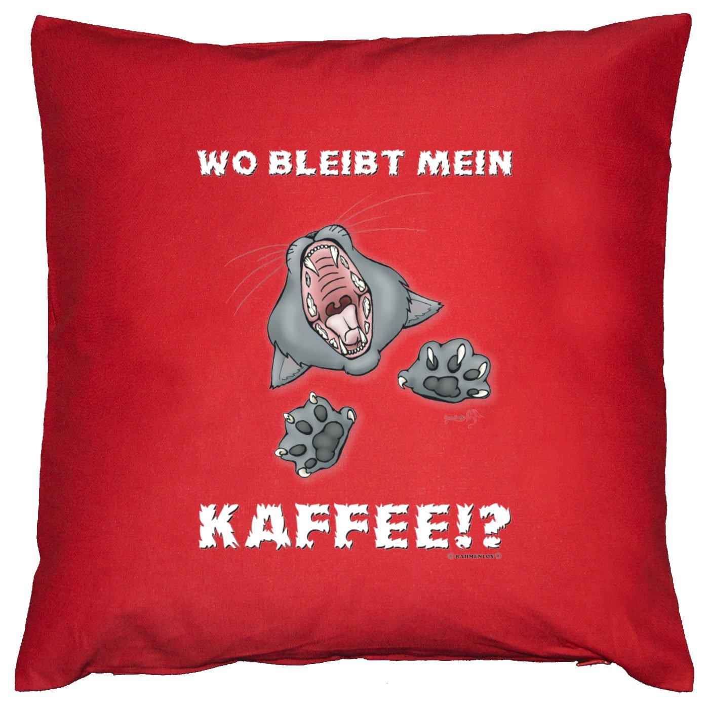 Sofa Fun Kissen mit Füllung - Spruch: Wo bleibt mein Kaffee!? - cooles lustiges Geschenk Couchkissen Sofakissen Dekokissen Geburtstag Weihnachten