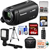 Panasonic HC-V380 Wi-Fi HD Video Camera Camcorder 64GB Card + Case + Tripod + LED Light + Reader + Kit (Color: Black)