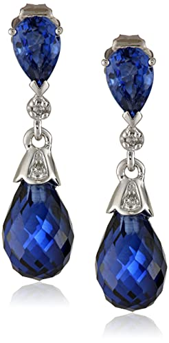 10k-White-Gold-Created-Gemstone-and-Diamond-Earrings-0-02-cttw-H-I-Color-I2-I3-Clarity-