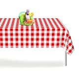 Red Gingham Checkered 1 Pack Premium Disposable Plastic Picnic Tablecloth 54 Inch. x 108 Inch. Rectangle Table Cover By Grandipity