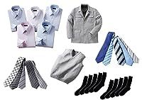 (フランコ コレツィオーニ)Franco Collezioni 【まとめセット】メンズビジネス用アイテム27点セット(ワイシャツ5枚、ネクタイ10本、ソックス10足、ベスト1枚、ジャケット1枚) 41047