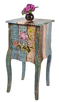 ts-ideen estantería cómoda estilo de vintage antiguo con rosas piel sintética con 2 cajones, color azúl french style