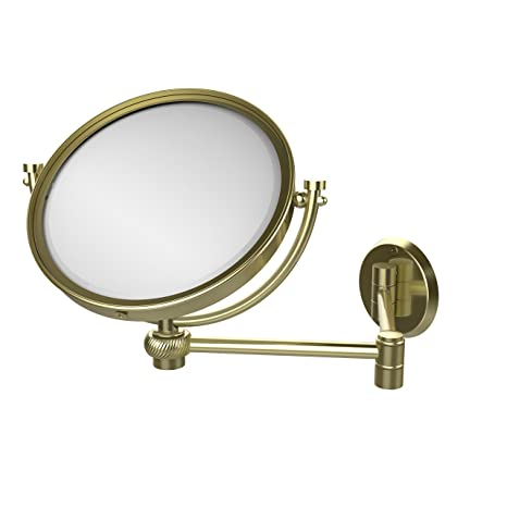 Allied Brass WM-6T/4X-SBR 8-Inch Wall Mirror with 4x Magnification, Extends Up to 14-Inch, Satin Brass