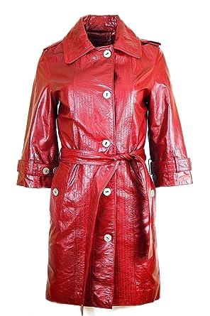 DX Damen Ledermantel Jacke Trenchcoat Farbe:r ot KPLD-0001