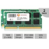 16GB KIT 2 x 8GB SODIMM DDR3 NON-ECC PC3-12800 1600MHz 1600 MHz DDR-3 Ram Memory by CENTERNEX