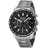 Seiko SSB031 Men's Chronograph Stainless Steel Case Watch (Color: Black)