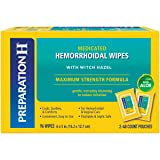 Preparation H Flushable Medicated Hemorrhoid Wipes, Maximum Strength Relief with Witch Hazel & Aloe, Pouch (2 x 48 Count, 96 Count) (Tamaño: 48 Count (Pack of 2))