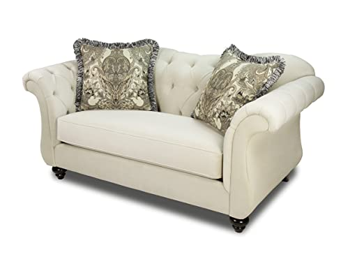 Furniture of America Ivorah Glamorous Love Seat, Cream White
