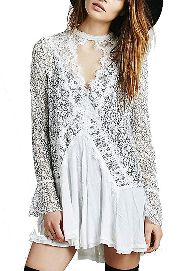 SheIn Women's Casual Long Flare Sleeve With Lace Dress
