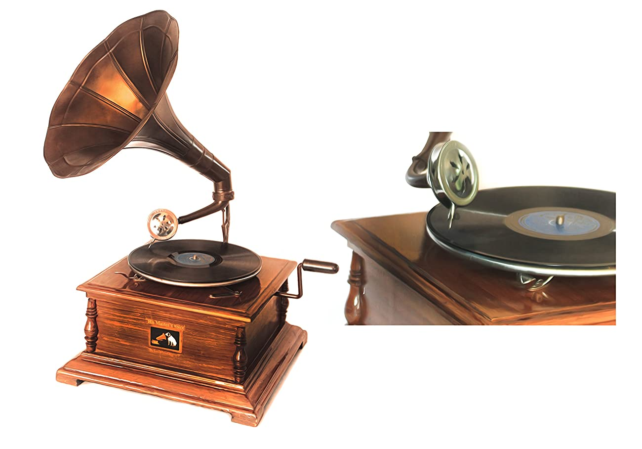 WinnerBrown Home Décor Metal Wood Brass Antique Finish Gramophone Record Player, 27 inch 3