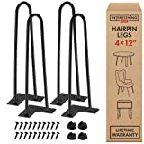 12 Inch Hairpin Legs - 4 Easy to Install Metal Legs for Furniture - Mid-Century Modern Legs for Coffee and End Tables, Chairs, Home DIY Projects + Bonus Rubber Floor Protectors by INTERESTHING Home (Color: Black, Tamaño: 12 Inch)