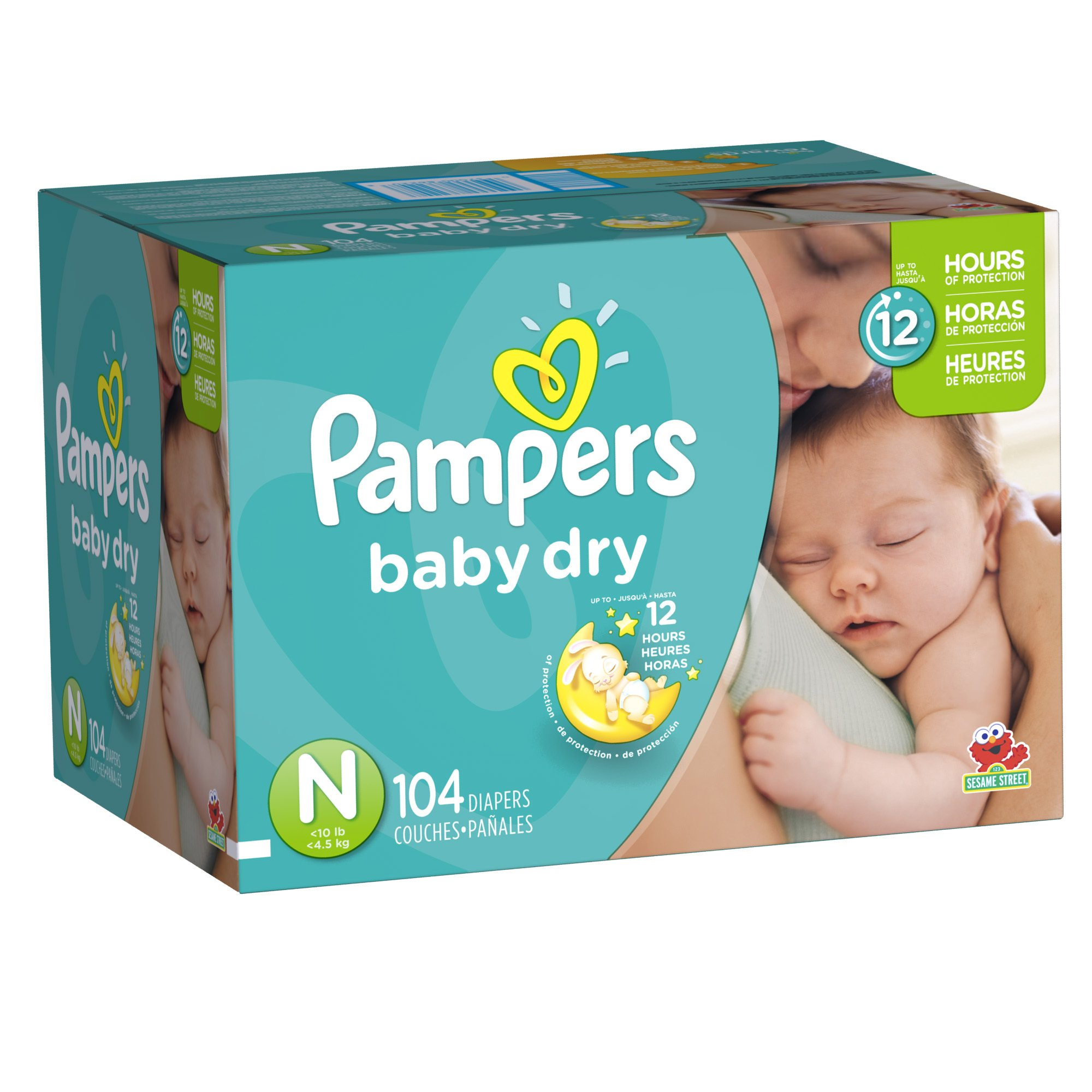 pampers baby dry diapers size n super pack 104 count. Black Bedroom Furniture Sets. Home Design Ideas