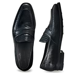 Enzo Bonafe Lizard Loafer: Black