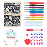 Damero Ergonomic Crochet Hooks Kit Organizer, Travel Canvas Roll Set with 9pcs Crochet Hooks, Comfortable Rubber Grip and Crocheting Accessories Supplies, Carrying with Ease, Animal World (Color: Animal World)