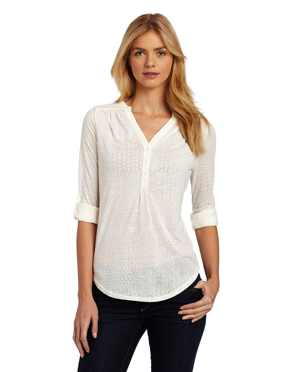 The womens Henley shirts are a group of styles that make use of the classic Henley polo placket while being tops that are definitely for women. These styles have a smart casual look to them and are ideal for layering when the colder months come along.