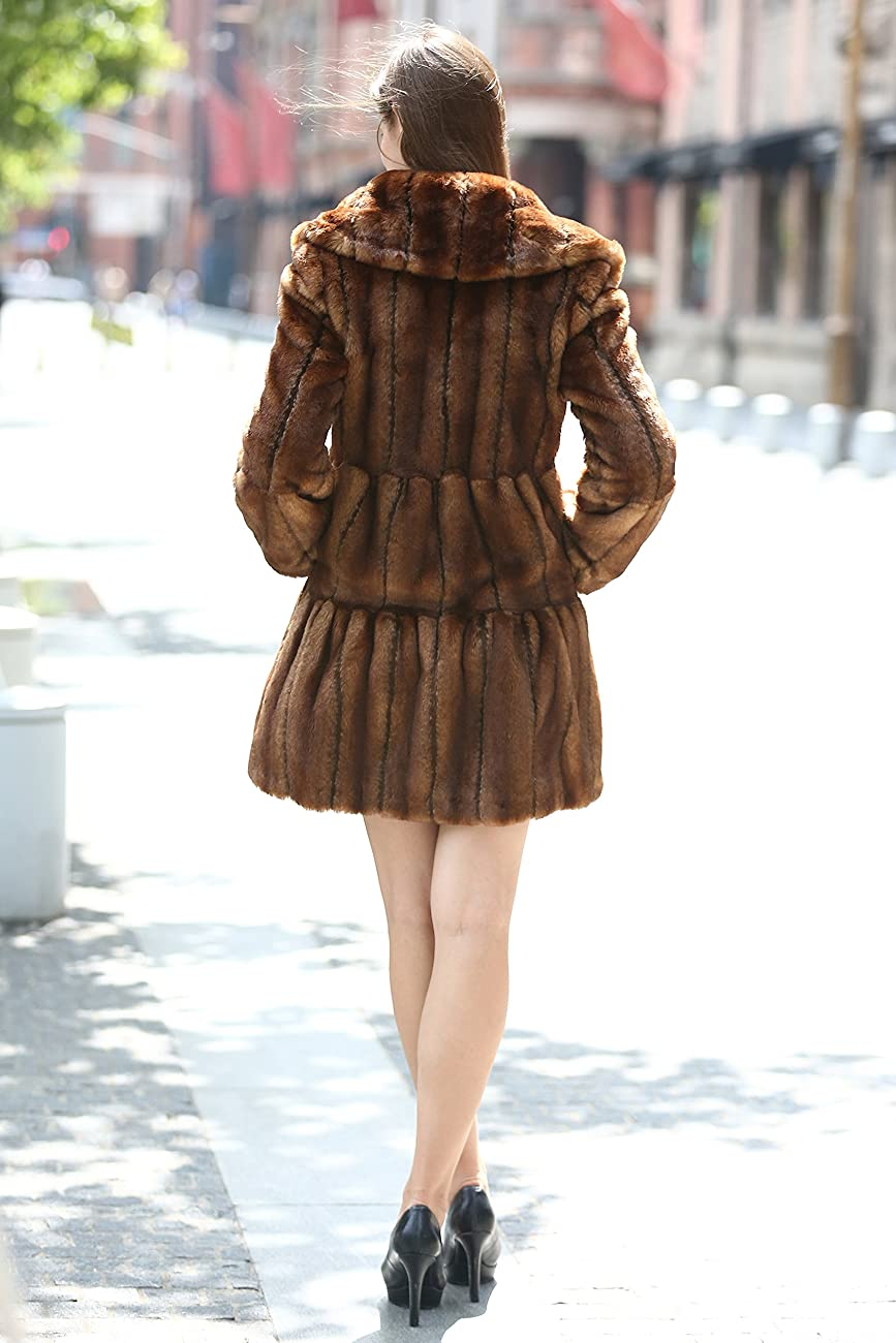 Adelaqueen Women's Vintage Style Luxury Faux Fur Coat with Lotus Ruffle Collar 5