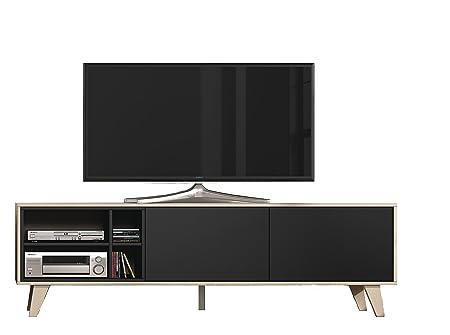Habitdesign 0Z6635R - Mueble de tv, acabado color Roble y Gris Oscuro, medidas 180x54x41 cm de fondo