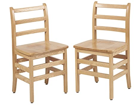 ECR4KIDS 25,4 cm a 45,7 cm North American in rovere Ladderback Chair (2-pack), 18-inch, Oak, 1