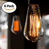 6-Pack Edison Light Bulb, Antique Vintage Style Light, Amber Warm, Dimmable (60w/110v)