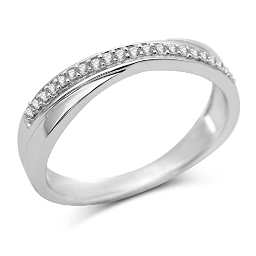 Miore 9ct White Gold Pave set Diamond Crossover Ring SA921R