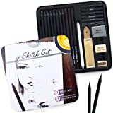Artists' Sketch Set - 22 Piece Essential Set - Huge Selection of Premium Sketch Art Supplies - Portable and Travel Friendly to Start Drawing at School Studio Home - MozArt Supplies (Color: 22 Piece Set)