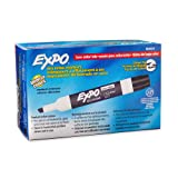 Expo 80001 Low Odor Chisel Point Dry Erase Markers, Low Odor Alcohol-Based Ink, Designed for Whiteboards, Glass and Most Non-Porous Surfaces, Black, 12 Units per Box, Pack of 1 Box (Color: Black, Tamaño: 12-Count)