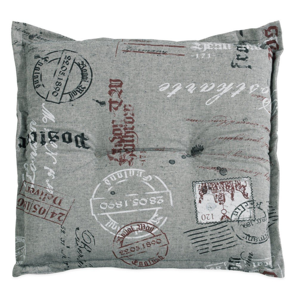 Hockerauflage Stuhlkissen grau mit Motivdruck 50 x 50 cm Postcard 2