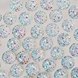100pcs 12mm Round Resin CabochonsIridescent Faux Druzy Cabochons,Mermaid Deco,White (Color: White)