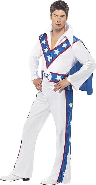 Smiffys Déguisement Homme Cascadeur Evel Knievel, Combinaison avec cape attachée, Taille: L, Couleur: Blanc, 21126L