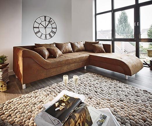 Couch Cadiz Braun 261x204 Antik Optik Keder Ottomane Rechts Ecksofa
