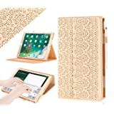 iPad Pro 12.9 (Compatible with 2017 and 2015 Model) Case, WWW [Luxury Laser Flower] Premium PU Leather Case Protective Cover with Auto Wake/Sleep Feature for iPad Pro 12.9 (Both 2017 and 2015) Gold (Color: A-Gold)