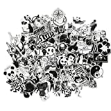 DreamerGO Graffiti Stickers 100 Pieces Black and White Smooth Car Motorcycle Bicycle Skateboard Laptop Luggage Vinyl Sticker (Color: White)