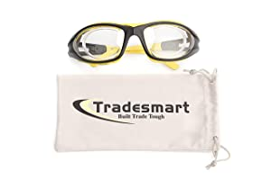 TRADESMART Shooting Range Earmuffs and Glasses - Ear and Eye Protection for The Gun Range with Protective Case, - UV400 Anti-Fog and Anti-Scratch, Clear Safety Glasses - NRR 28 (Yellow) (Color: Yellow & Black)