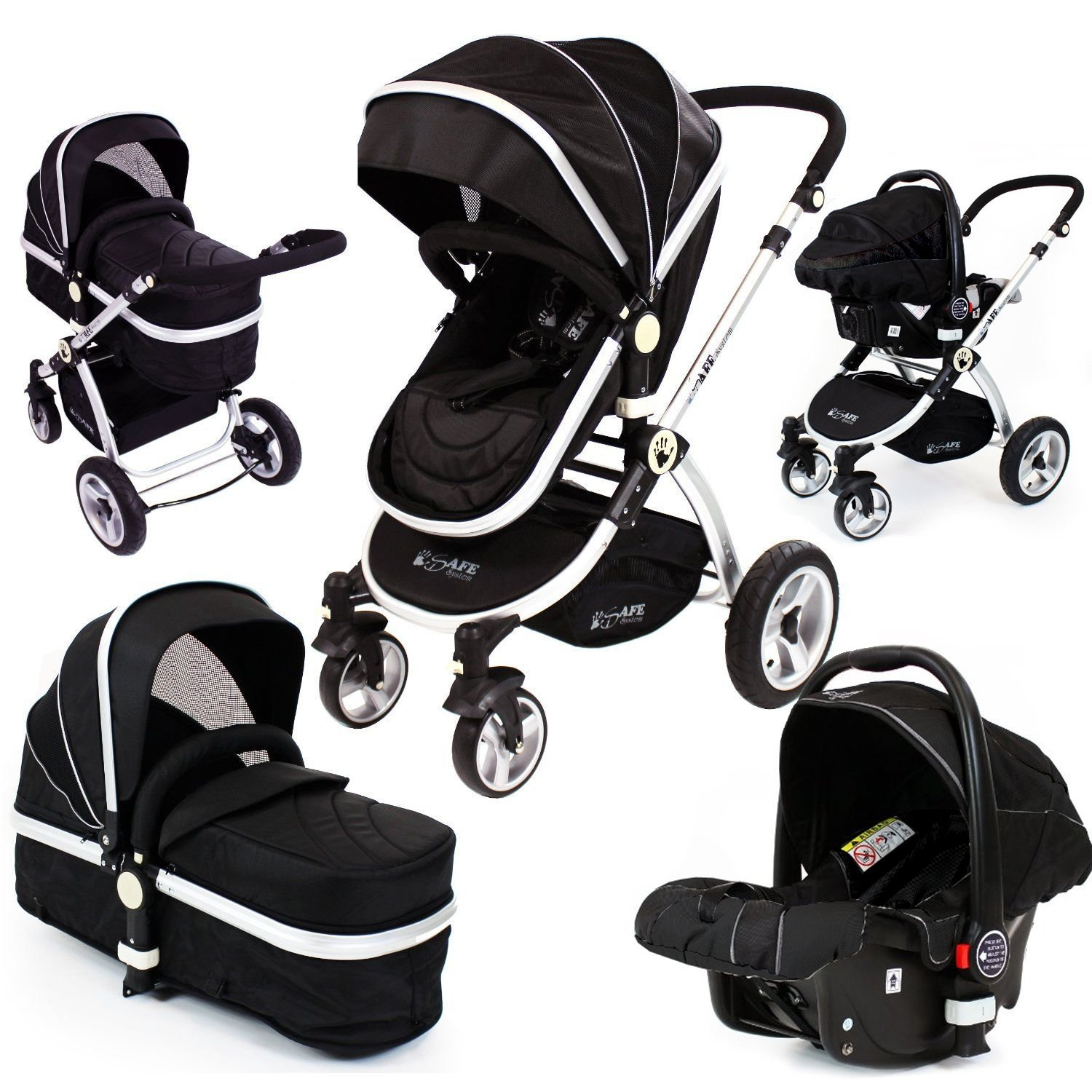 Black Trio Travel System Pram & Luxury Stroller 3 in 1