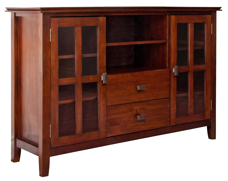 Simpli Home Artisan Tv Stand 54 W X 35 H Medium Auburn Brown