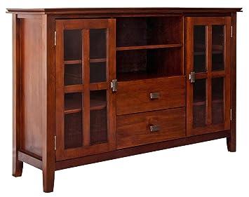 "Simpli Home Artisan TV Stand, 54""W x 35""H, Medium Auburn Brown"