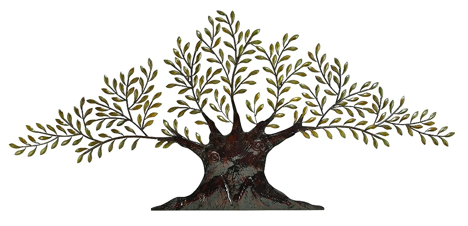 deco 79 68501 metal olive tree wall decor 94 by 42 inch browngolden green - Large Metal Wall Decor
