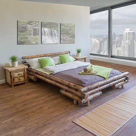 Homestyle4u Bambusbett Futonbett Bambus Bett 180 x 200 cm in braun Doppelbett Bettgestell inkl. Lattenrost
