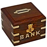 Chirstmas Sale -Safe Money Box Wooden Piggy Bank For Boys Girls And Adults (Tamaño: 4 X 4 X 3 Inch)