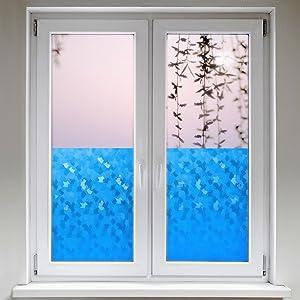 Artefact® Dekofolie / Fensterfolie Fancy Blau | statisch haftend (ohne Kleber) | verschiedene Größen  BaumarktKundenbewertung und weitere Informationen