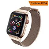 HILIMNY Compatible for Apple Watch Band 38mm 40mm 42mm 44mm, Stainless Steel Mesh Milanese Sport Wristband Loop with Adjustable Magnet Clasp for iWatch Series 1/2/3/4,Light Gold (Color: Light Gold, Tamaño: 42mm/44mm)