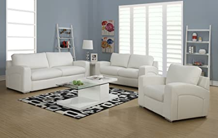 Monarch Specialties White Bonded Leather/Match Love Seat