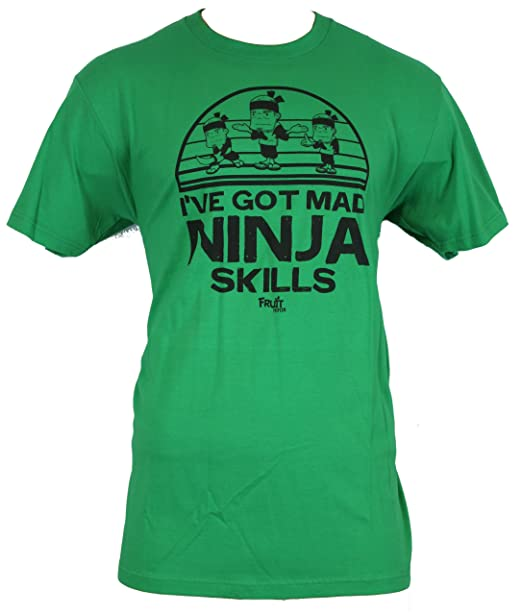 "Fruit Ninja (Hit Game Ap) Mens T-Shirt - ""I've Got Mad Skills!"" Fruit Ninja Skills on Green (XX-Large)"