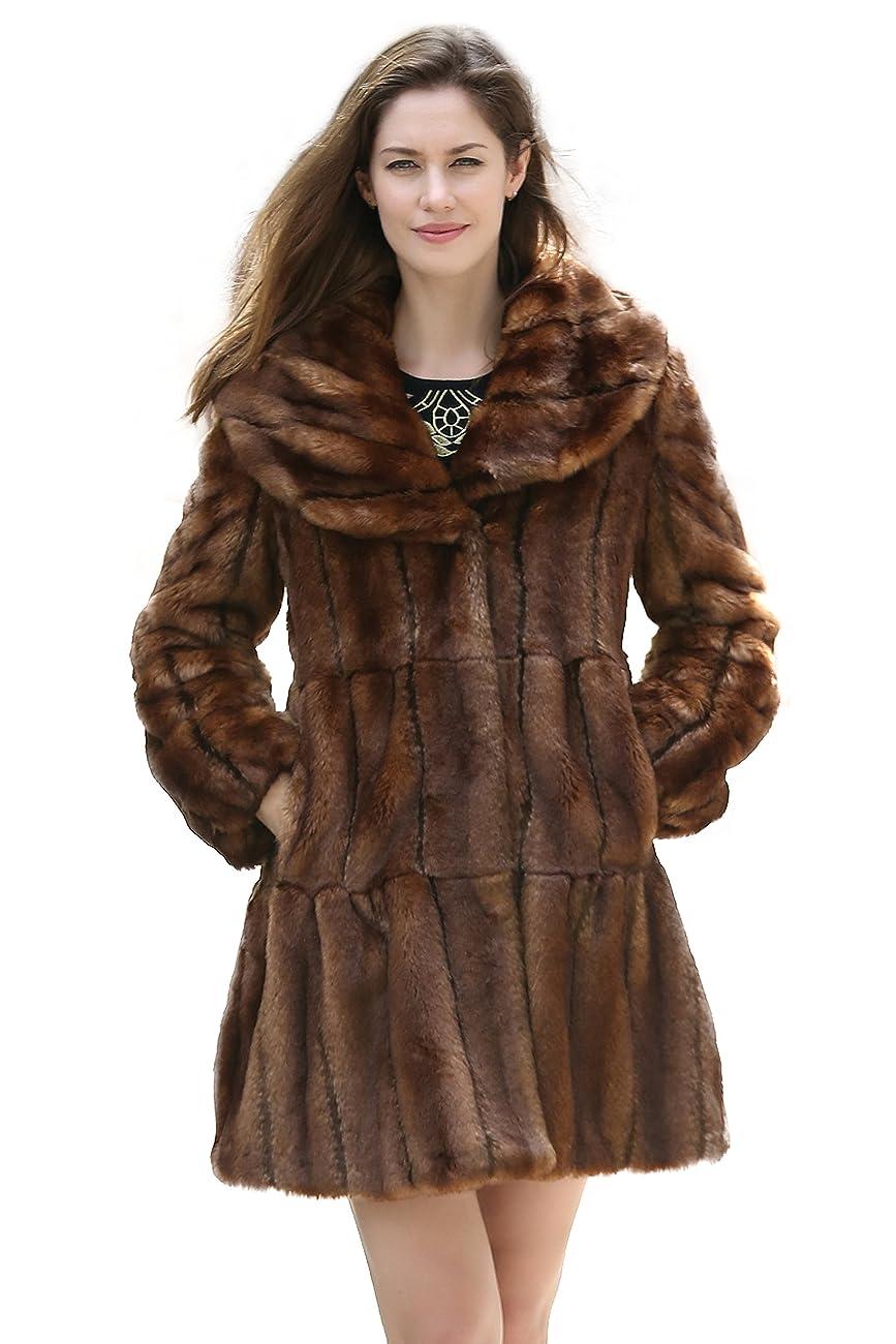 Adelaqueen Women's Vintage Style Luxury Faux Fur Coat with Lotus Ruffle Collar 0