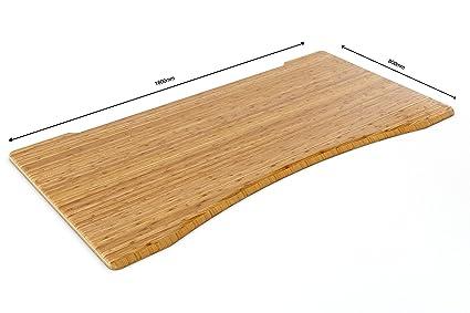 Forme ergonomique carbonisé en bambou massif Desk Top | Découpe avant incurvée | authentique en bambou, sans vernis, chêne, 1600 x 800mm Ergo Cut-Out