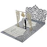 Pop up Wedding Invitations with Silver Laser Cut Pocket-Folds.Customized Laser Cut Wedding Invitations with Envelopes. 3D Wedding Invitations with RSVP (Color: Silver Laser Cut Pocket-fold, Tamaño: Sample Invitation)