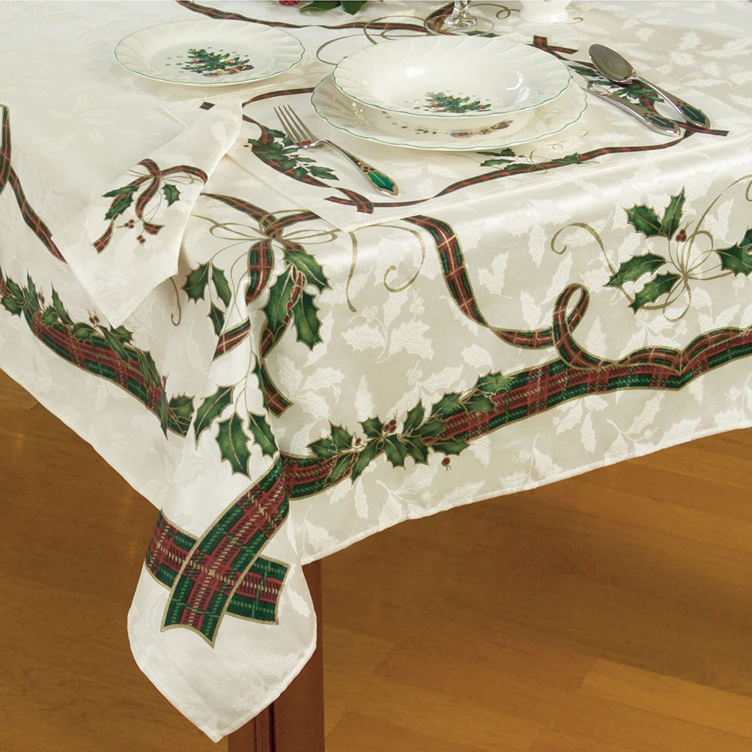 Lenox Holiday Nouveau Christmas Tablecloth ~ 60 x 84 Oblong Rectangular