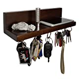 Brooklyn Basix Premium Magnetic Wood Key Ring Holder and Shelf for Mail, Letter, Phone, Wallet, Sunglasses Wall Mounted Organizer Perfect for Mudroom, Entryway, Foyer, Kitchen (Walnut) (Color: Walnut)
