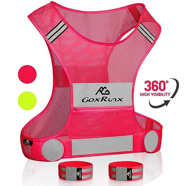GoxRunx Reflective Running Vest Gear Light /& Comfortable Cycling Motorcycle Reflective Vest,Large Zippered Inside Pocket /& Adjustable Waist,High Visibility Night Running Safety Vest