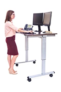 Standing Desk, Discount Medical Depot 48 Inch Electric Adjustable Work Station with Silver Frame and Dark Walnut Desktop